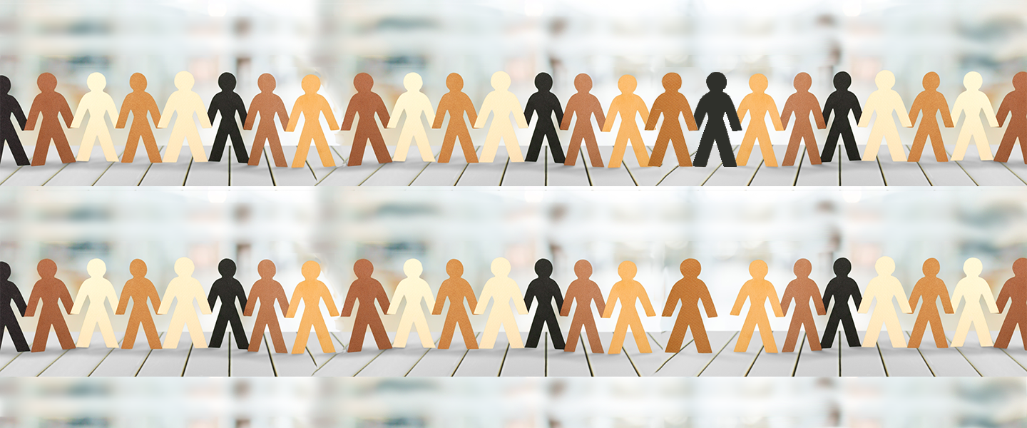 paper chain of stick figures with different skin colors